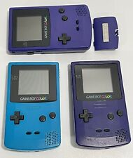 SEE DESCRIPTION Lot of 2 Working Nintendo GameBoy Color TEAL GRAPE 1 For Parts