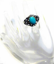 BLUE SLEEPING BEAUTY TURQUOISE OVAL & PURPLE IOLITE RING, 925, SIZE 7, 3.15(TCW)