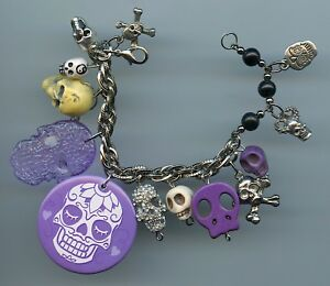 PURPLE & SILVER HALLOWEEN SKULL CHARM BRACELET MADE WITH RECYCLED COLLECTIBLES