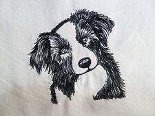 Border Collie - Machine Embroidered Fabric
