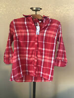 red pink plaid ST JOHNS BAY button down collared blouse shirt large
