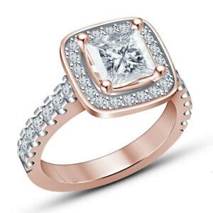 Princess White Square Zircon Rose Gold Wedding Ring Jewelry Gift Size 9
