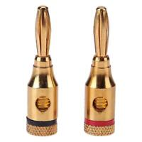 2pcs Gold-plated Banana Plugs Musical Audio Speaker Cable Wire Connectors hv2n