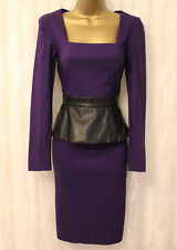 Paper Dolls Long Sleeve Square Neck Leather Look Peplum Bodycon Dress  8 36