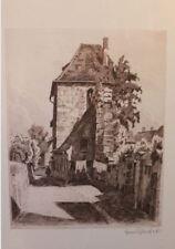 Hans Schaefer aus Bayreuth Original Radierung Schwabach 1940 signiert Stadtmauer