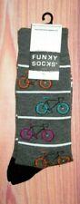 MENS FUNKY SOCKS BICYCLE GRAY CHARCOAL SOCKS (SHOE SIZE 6-12)