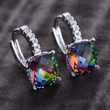 Women Fashion 925 Silver Rainbow Topaz Drop Huggie Earrings Wedding Jewelry New