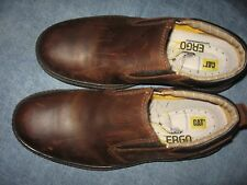 MENS 9.5 / 42.5 M CAT CATERPILLAR BROWN LEATHER STEEL TOE SLIP ON ERGO SHOES