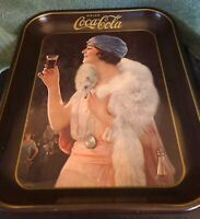 """VINTAGE 1973 COCA COLA FLAPPER BLUE HAT PARTY GIRL SERVING TRAY 13 1/4""""X10 1/2"""