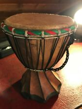More details for small handmade working bongo drum - ornamental african art