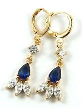 Women's 24 Carat Gold Filled Blue clear Zircon Drop Huggie Earrings Jewellery