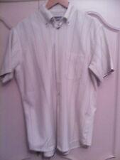 Camisa manga corta beige con rayas en diferentes tonos de marron Talla 39