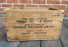 Vintage Canadian Industries Canuck Wood Ammo Crate Box 16 Gauge Shotgun Shells
