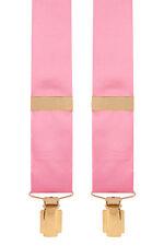 Satin Silk Trouser Braces Mens Silk Trouser Braces 35mm Y-Style (Pink) #366