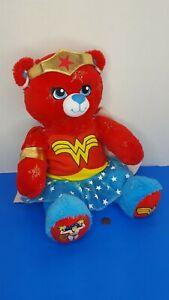 "Build A Bear Wonder Woman Plush DC Comic Costume Sparkle Star Cape 17"" BABW Red"