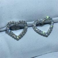 0.50Ct Round Cut D/VVS1 Diamond Heart Shape Stud Earrings 14K White Gold Finish
