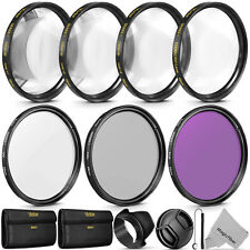 55MM Lens Filter Kit - Macro Close Up Set & UV CPL FLD w/ Pouch for Nikon Canon