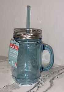 NEW Aladdin Classic Ice Blue CIear Insulated Mason Jar Tumbler Mug w Straw 20oz