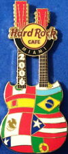 Hard Rock Cafe MIAMI 2006 Hispanic Heritage Month GUITAR PIN Int'l Flags #35135