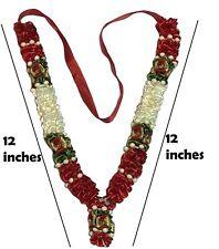 "JaiMala/ Warmala Red&White Flower Garland/ Mala for God Idols, Photo Frames 12"""