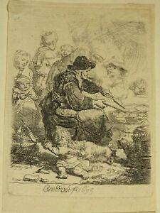 REMBRANDT (1606-1669) GRAVURE PANCAKE WOMAN TIRAGE BASAN B.124
