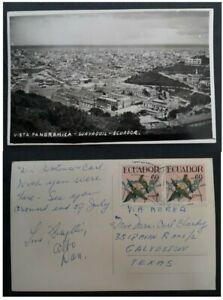 """1959 Ecuador Postcard """" Guayaquil Panorama"""" ties 2 stamps to Texas"""