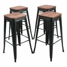 4 Metal Steel 30'' Bar Stool High Counter Top Barstool Wooden Cushion Seat Black