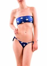 Wildfox Women's Stars Away Gingham Reversible Bandeau Blue Size M RRP £66 BCF76