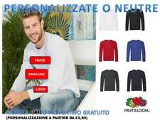 MAGLIETTA UOMO MANICA LUNGA FRUIT OF THE LOOM light COTONE PERSONALIZZABILE