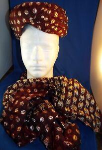 "Wedding Pagri Hat Turban 7"" Red And Gold Size Medium"