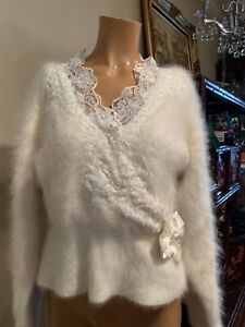 Vintage 1980's Ivory Angora Sweater Lace & Beads Small Hong Kong Fuzzy Hairy Fur