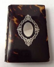 Antique c1880's Faux Tortoise Shell Silver Pique Work Inlaid Business Card Case.
