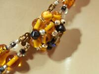 FAB Japan Signed Foil Art Glass Vintage 50's Necklace 274JN0