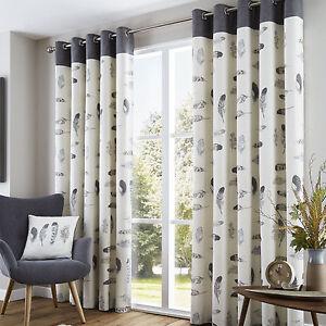 Eyelet Curtains Idaho Charcoal & Natural