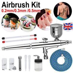 Airbrush Kit Spray Gun Dual Air Brush Action Compressor Paint Art Tattoo Set UK