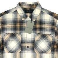 NEW AllSaints Men's Button Shirt Wichita Oak Check Black/Beige/Tan • Size XS