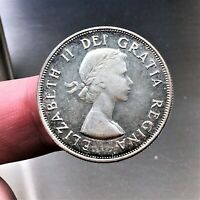 1953 (small date, no shoulder fold) Canada 50 Cents Coin, Silver, KM# 53