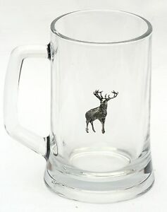 Stag Standing Design Handled Glass Beer Tankard oversize pint 600ml Hunting Gift