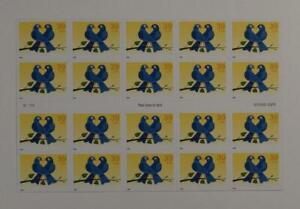 US SCOTT 4029a PANE OF 20 TRUE BLUE BIRD STAMPS 39 CENT FACE MNH