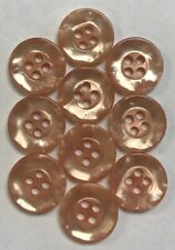 Vintage Lot of 10 ROSE GOLD Mother of Pearl 4-Hole Blouse Sewing Buttons