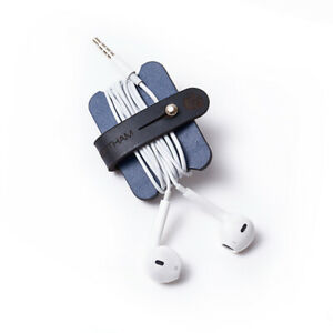 Richings Greetham Navy Headphone, Earphone & USB Leather Cable Tidy
