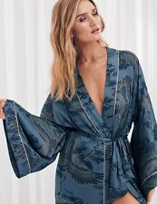NEW M&S ROSIE Satin Crane Print Long Wrap Dressing Gown MEDIUM UK12-14 EUR 40-42