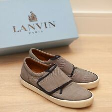 LANVIN / LEATHER LOW TRAINERS SIZE 8 navy / leather -  men's shoes with box