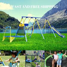 Swing Set Metal For Backyard Playground Toddler Kids Slide Fun Playset Outdoor