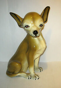 Vintage Marwal Large CHIHUAHUA Dog Statue LIFE SIZE UNIQUE
