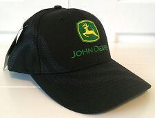 John Deere Black Fabric Hat Cap w Cool TIRE TRACKS and Vintage Logo