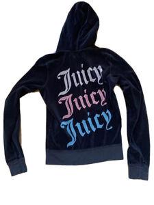 Juicy Couture Black Velour Bling Hoodie Jacket Sweatshirt Womens Medium Full Zip