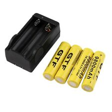 4pcs 18650 3.7V 9800mAh Rechargeable Li-ion Battery + Charger For Flashlight DE