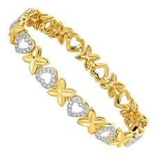 """XO' Heart Link Bracelet with Diamond in 14K Yellow Gold Plated Brass, 7"""" Hallows"""