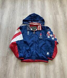 Vtg STARTER Atlanta Olympic 1996 Games Windbreaker Jacket Large Team USA Med